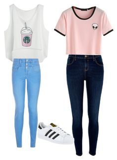 """BFF OUTFITS "" by sa-sarah ❤ liked on Polyvore featuring New Look, River Island and adidas"