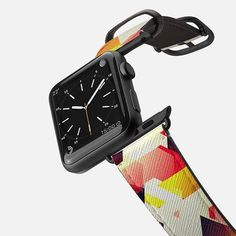 Lovely Abstract Vivid Geometric Design Cool Geometry - Saffiano Leather Watch Band