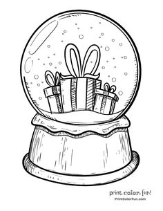 Snow globe with Christmas presents coloring page - Print. Snow globe with Christmas presents coloring page - Print. Christmas Present Drawing, Christmas Present Coloring Pages, Snowman Coloring Pages, Christmas Coloring Sheets, Bible Coloring Pages, Christmas Drawing, Coloring Books, Christmas Snow Globes, Christmas Colors