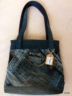 Riflová kabelka - klasická s kapsou vpředu