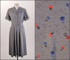 1940's Umbrella Print Dress by SquirrelFriendVNTG