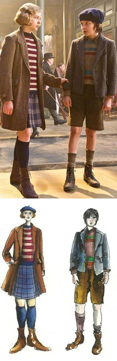 Hugo (2011) Costume renderings by Sandy Powell- from sketch to real life