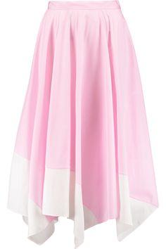 VIONNET Asymmetric two-tone cotton-blend poplin skirt. #vionnet #cloth #skirt