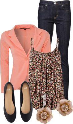 Coral blazer, floral tank, jeans