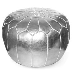 Kenza Moroccan Pouf, Metallic Silver // You know you need this. // 25% OFF with code LABORDAY25