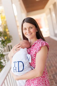 Monogrammed Buckhead Blue Sweet Bow Swaddle The Beaufort Bonnet Company - I am so sad I didn't have this for Wade!!