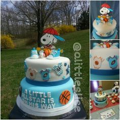 Follow my cakes on instagram @ alittleslice check out this adorable Snoopy sports baby shower cake!