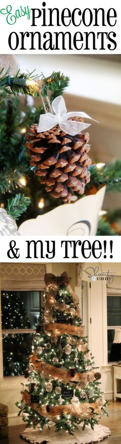 Day 8: DIY Easy Pinecone Ornaments and my Christmas Tree! #12daysofchristmas