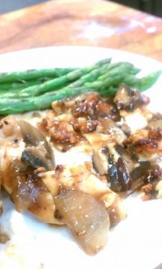 low carb Parmesan Chicken with mushroom gravy .
