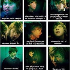 "Ronald Weasley and the Best One Liners Ever. have we forgotten, ""the spiders! they want me to tap dance! i don't want to tap dance!"""