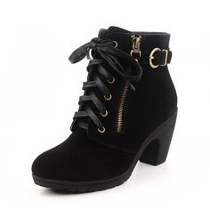 Handmade Fashion Suede Leather Ladies Gold Zipper Strap Sexy OL style Women's Punk High Heels Wedge Casual Warm Shoes Black Boots
