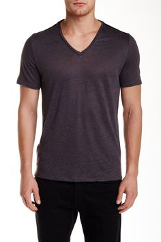 Genuine Leather Trim V-Neck Linen Tee