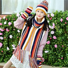Colorful knit hat scarf and gloves set for women winter wear