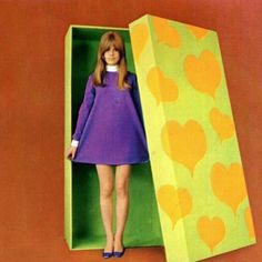 1960's pic of a girl in a gift box, kinda creepy. from They Roared Vintage on tumblr