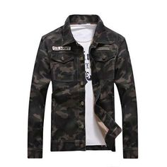 2017 Spring men's denim jacket camouflage windbreaker mens Slim Coats  jaqueta masculina male Fashion Outerwear &