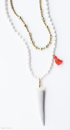 Tess+Tricia Bella Necklace | featuring White Turquoise Natural Stone Beads, Coral Tassel, Naturally Shed Antler Tip, and Luna Layering Necklace {available 8.15.15}. Shop the current collection online now!