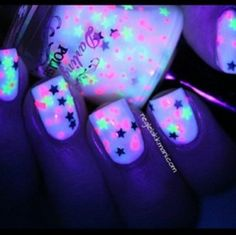 nail polish nails stars glow in the dark glow yellow pink white pretty cute