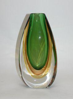 Murano Green Tobacco Amber Vase