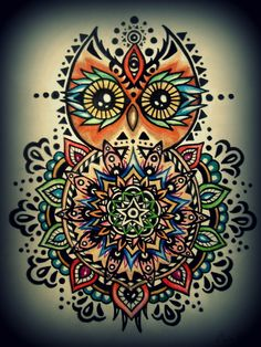 I get into these phases where I want a tattoo.  I like this design, but wonder if there is a turtle version....Owl Mandala, ink and colored pencil
