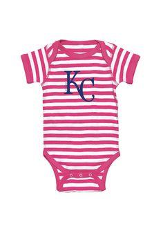 Kansas City Royals Baby Pink Striped Primary Logo Short Sleeve Creeper