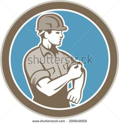Illustration of a construction worker wearing hardhat rolling up sleeve facing side set inside circle on isolated background done in retro style. - stock vector #worker #retro #illustration