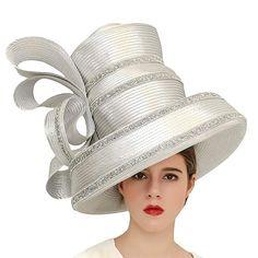 f5c69ae0ab6 Koola Women s Silvery Church Derby Hat Big Wide Brim Wedding Hat Tea Party  Hat Review