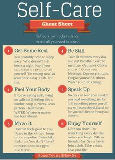 Self Care- cheat sheet