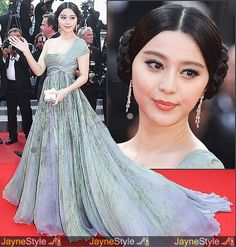 Fan Bing Bing in Elie Saab at Cannes. Love the dress, hate the hair.