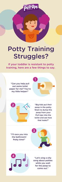Potty training comes with its ups and downs, which can mean the occasional break from the potty. If your child is resistant, try putting some excitement back into the routine, like letting them flush the toilet—just for fun. The more they know about the potty, the less scary it will seem. Find more tips on how to partner with your toddler at Pull-Ups.com.