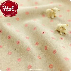 Buy Hessian Fabric - Pink Floral Fat Quarter FQ £3.25 | My Fabric House