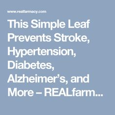 This Simple Leaf Prevents Stroke, Hypertension, Diabetes, Alzheimer's, and More – REALfarmacy.com
