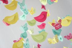 Bright Nursery Decor Mobile with Butterflies & Birds- Nursery Mobile, Baby Shower Gift