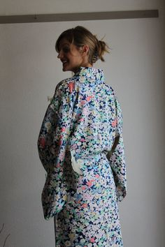 Floral pattern double layered thick silk 2nd hand Kimono dark blue with coloured flowers, spring