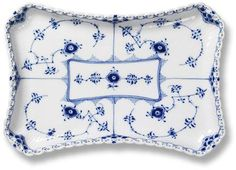 Blue Fluted Full Lace Tray by Royal Copenhagen