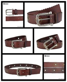 Women Leather Belt With Metal Eyelets-JDLA13009