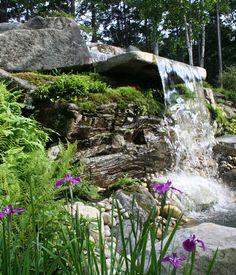 Coastal Maine Botanical Gardens, Rhododendron Garden waterfall.