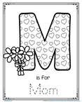 M is for Mom trace and color printable