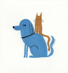 Blue dog Yellow cat--Terry Runyan Original painting available at Etsy!