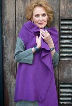 Elizabeth Counsell, actress, wears her Paris Waistcoat in felted wool over a Crop Winter shirt in cotton.