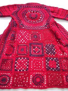Red and purple granny square coat
