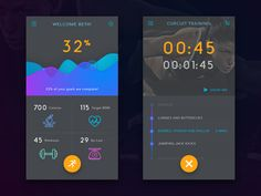 Fitness IOS App - Dashboard and training by Stef Angeles