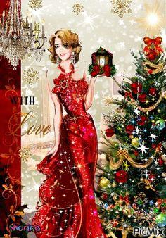 Christmas Scenes, Noel Christmas, Christmas Fashion, Vintage Christmas Cards, Retro Christmas, Christmas Wishes, Christmas Pictures, Christmas Greetings, Christmas And New Year