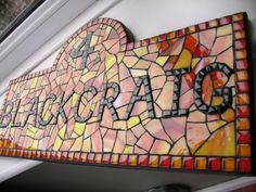 Stained glass and glass tile mosaic house number (number 4 ...