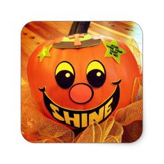 Shine Happy Halloween Jack-O-Lantern Pumpkin Square Sticker - craft supplies diy custom design supply special
