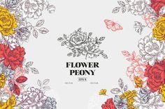 Fundo de flores Vintage peônia. Modelo de projeto de flores. Ilustração vetorial - ilustração de arte em vetor