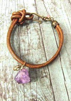 Boho Bracelet, Handmade Bohemian Jewelry, Handcrafted Boho Bracelet, Amethyst Bracelet, Leather Cord Bracelet,Hippie Chic Bracelet, Rustic Jewelry,Healing stone jewelry, Natural Jewelry