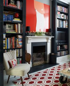 Cozy Library Fireplaces We'd Love to Come Home To Planning a fireplace makeover? This fireplace decor inspiration for home libraries and small home studies will help you get started.Inspiration Inspiration, inspire, or inspired may refer to: Library Fireplace, Fireplace Shelves, White Fireplace, Brick Fireplace, Fireplace Mantels, Blue Living Room Decor, Living Room Shelves, Living Rooms, Apartment Living
