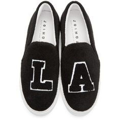 Joshua Sanders Black Felt NY Slip-On Sneakers (4.665.720 IDR) ❤ liked on Polyvore featuring shoes, sneakers, slip on sneakers, slip-on sneakers, black shoes, platform sneakers and platform slip-on sneakers