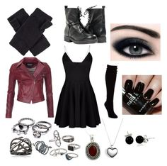 """""""My Scarlet Witch"""" by thesweetdangerparade ❤ liked on Polyvore featuring OBEY Clothing, Ross-Simons, Mudd, Barbour International, Pandora, Bling Jewelry, NOVICA, Paolo Shoes, Nails Inc. and Hue"""