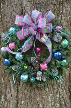 Multicolored Christmas Wreath by SeraphicalDesigns on Etsy, $58.99
